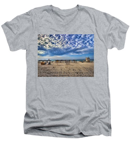 a good morning from Jerusalem beach  Men's V-Neck T-Shirt by Ron Shoshani