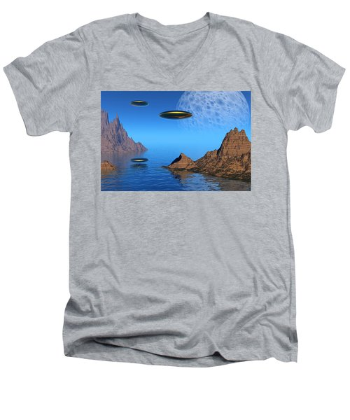Men's V-Neck T-Shirt featuring the digital art A Great Day For Flying by Lyle Hatch