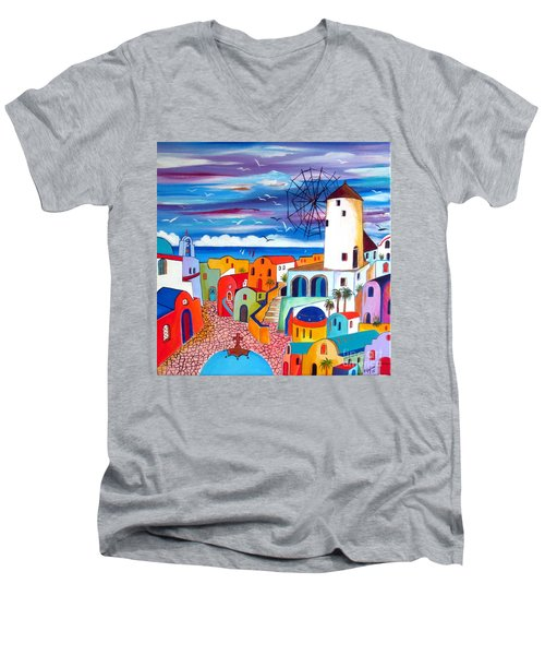 Men's V-Neck T-Shirt featuring the painting A Greek Mill And The Colors Of Oia Santorini  by Roberto Gagliardi