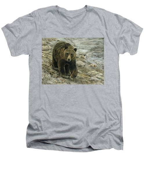 Men's V-Neck T-Shirt featuring the drawing A Grey And Grizzly Day by Sandra LaFaut