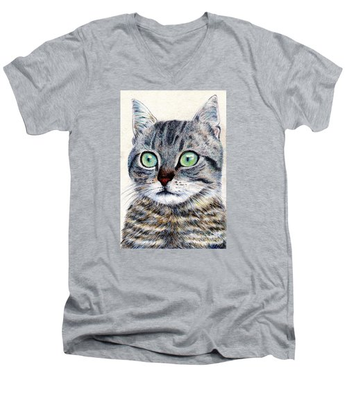 Men's V-Neck T-Shirt featuring the painting A Grey Tabby by Jingfen Hwu