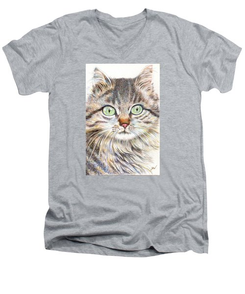 Men's V-Neck T-Shirt featuring the drawing A Handsome Cat  by Jingfen Hwu