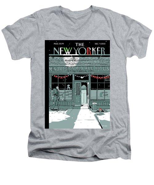 A Holiday Scene Outside The Bar Mcsorley's Men's V-Neck T-Shirt