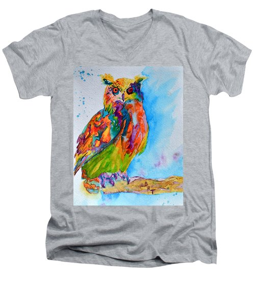 A Hootiful Moment In Time Men's V-Neck T-Shirt by Beverley Harper Tinsley