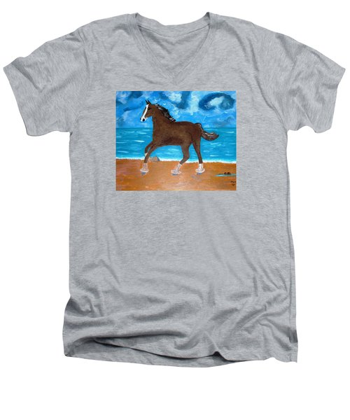 Men's V-Neck T-Shirt featuring the painting A Horse On The Beach by Magdalena Frohnsdorff