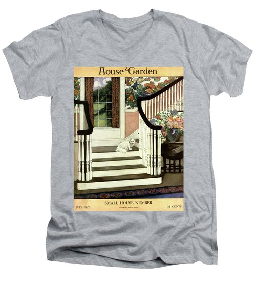 A House And Garden Cover Of A Cat On A Staircase Men's V-Neck T-Shirt