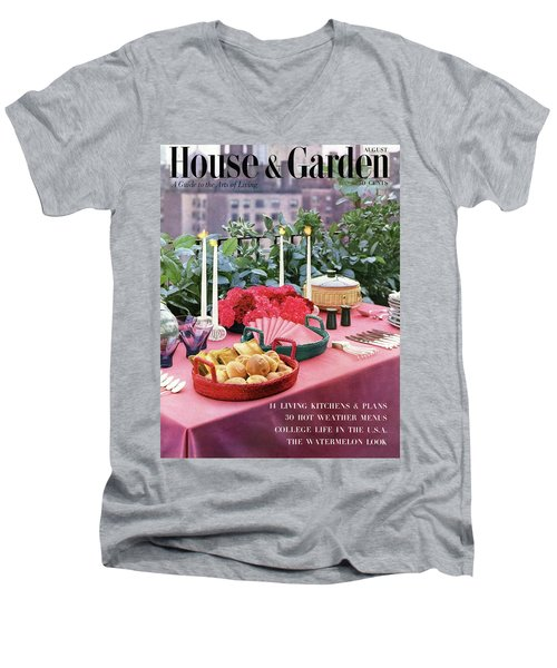 A House And Garden Cover Of Al Fresco Dining Men's V-Neck T-Shirt