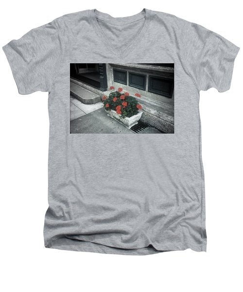 Men's V-Neck T-Shirt featuring the photograph A Little Color In A Drab World by Rodney Lee Williams