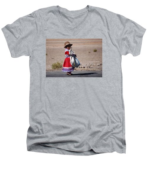 A Little Girl In The  High Plain Men's V-Neck T-Shirt