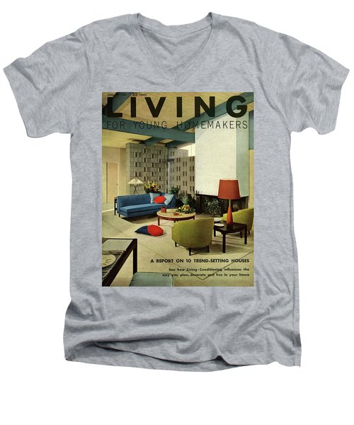 A Living Room With Carpeting By Callaway Men's V-Neck T-Shirt