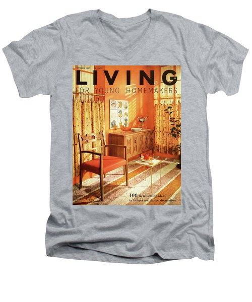 A Living Room With Furniture By Mt Airy Chair Men's V-Neck T-Shirt