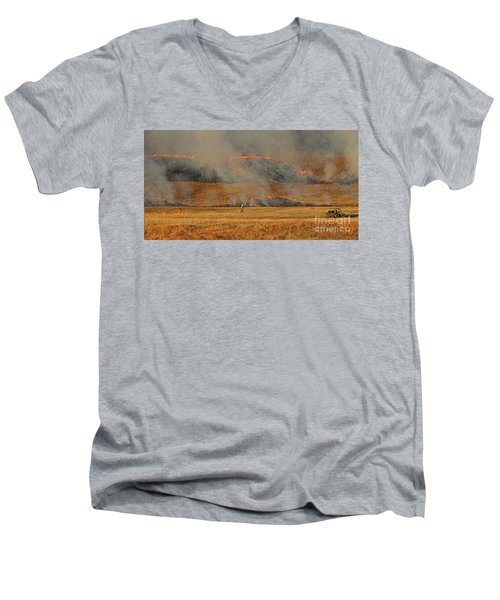 A Lone Firefighter On The Norbeck Prescribed Fire. Men's V-Neck T-Shirt