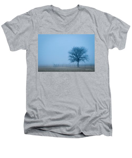 A Lone Tree In The Fog Men's V-Neck T-Shirt
