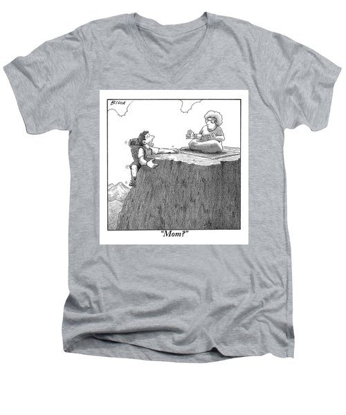 A Man Ascends A Mountain To Discover His Mother Men's V-Neck T-Shirt