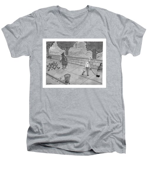A Man Walking His Dog Sees A Mysterious Figure Men's V-Neck T-Shirt