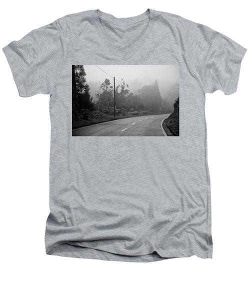 A Misty Country Road Men's V-Neck T-Shirt