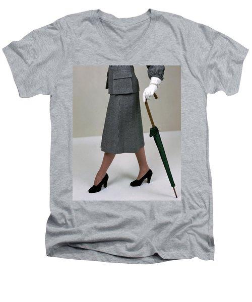 A Model Holding An Umbrella Men's V-Neck T-Shirt