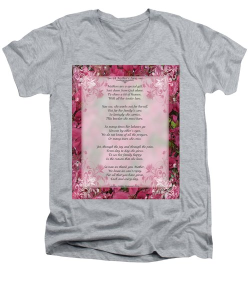 A Mother's Love  8x10 Format Men's V-Neck T-Shirt by Debbie Portwood