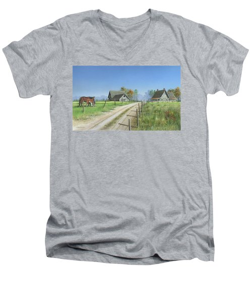 Men's V-Neck T-Shirt featuring the painting A New Beginning by Mike Brown