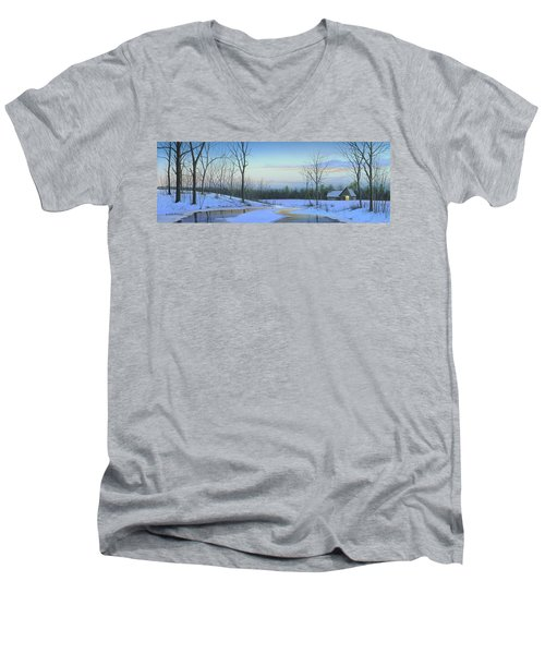 Men's V-Neck T-Shirt featuring the painting A New Dawn by Mike Brown