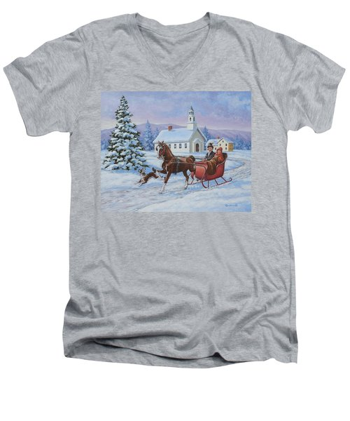 A One Horse Open Sleigh Men's V-Neck T-Shirt