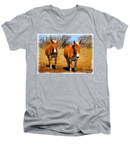 A Pair Of Mules  Digital Paint Men's V-Neck T-Shirt