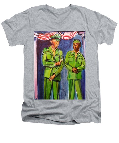Daddy Soldier Men's V-Neck T-Shirt by Ecinja Art Works