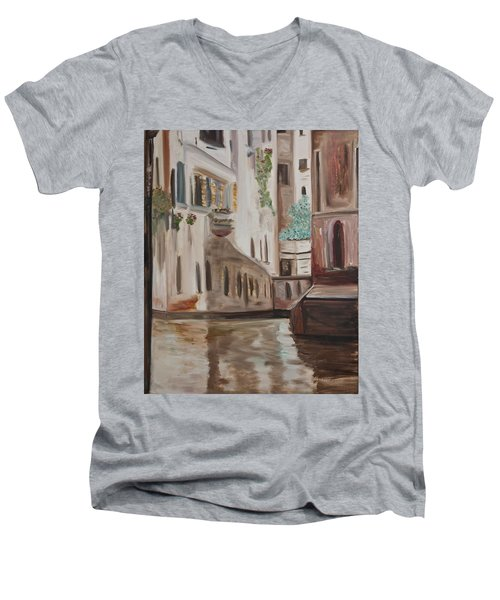 A Quiet Venice Canal Men's V-Neck T-Shirt