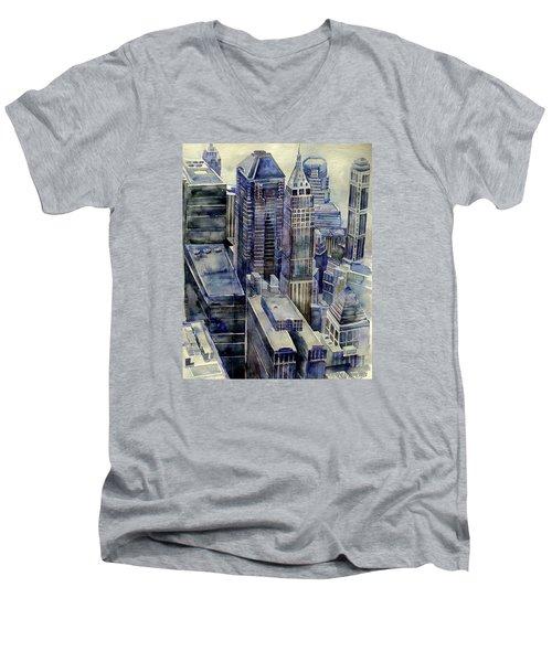 Rainy Day In Gotham Men's V-Neck T-Shirt by Jeffrey S Perrine