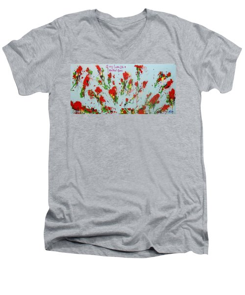 A Red Red Rose Men's V-Neck T-Shirt