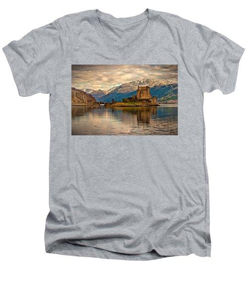 A Reflection At Eilean Donan Castle Men's V-Neck T-Shirt