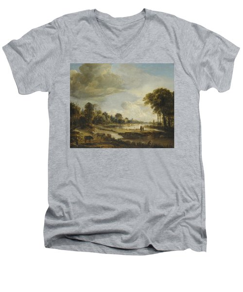 Men's V-Neck T-Shirt featuring the painting A River Landscape With Figures And Cattle by Gianfranco Weiss