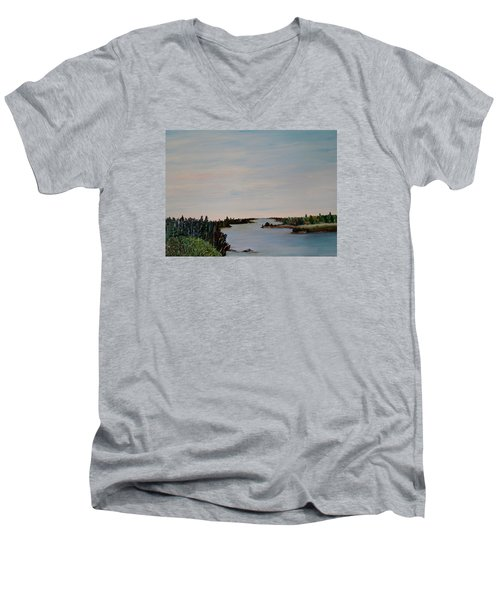 Men's V-Neck T-Shirt featuring the painting A River Shoreline by Marilyn  McNish