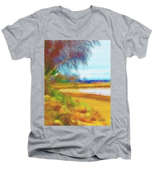 A Rocky Beach Men's V-Neck T-Shirt