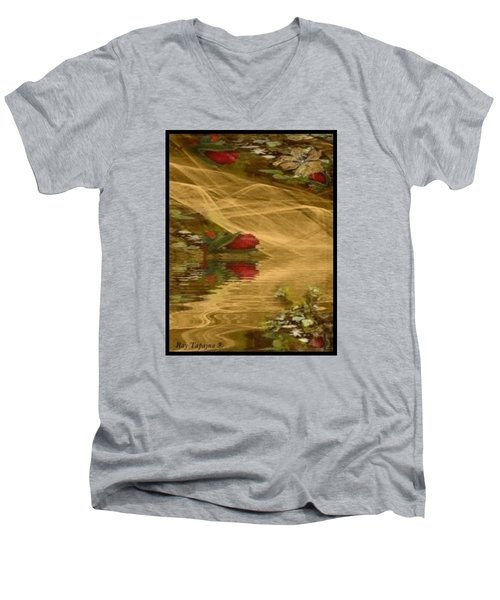 Men's V-Neck T-Shirt featuring the mixed media A Rose Bud Stream by Ray Tapajna