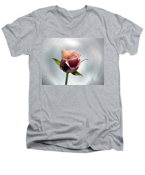A Rose Men's V-Neck T-Shirt by Lynn Bolt