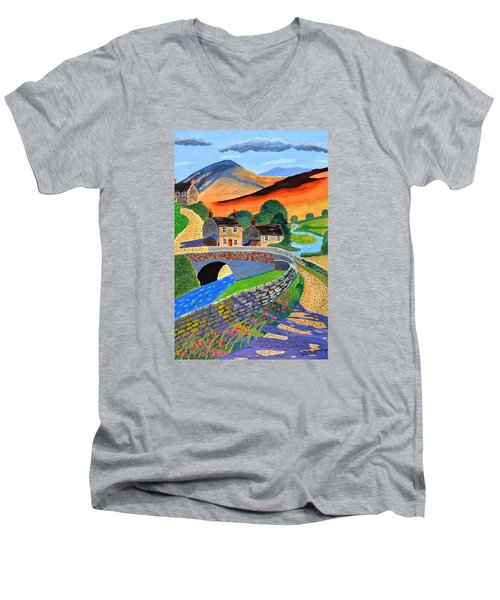 Men's V-Neck T-Shirt featuring the painting a Scottish highland lane by Magdalena Frohnsdorff