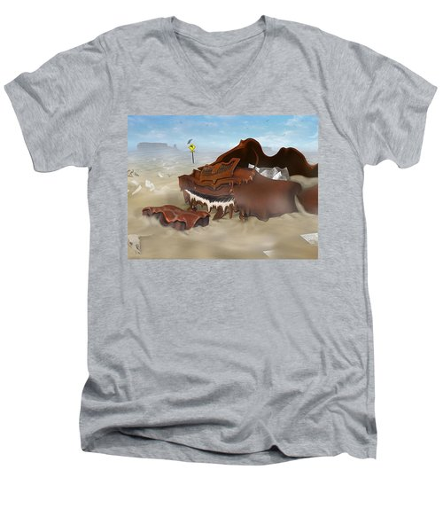 A Slow Death In Piano Valley - Panoramic Men's V-Neck T-Shirt