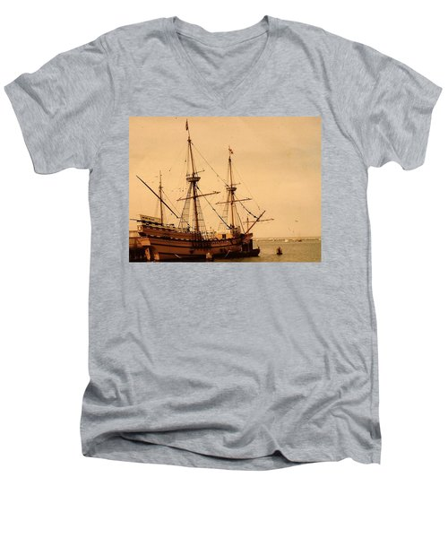 A Small Old Clipper Ship Men's V-Neck T-Shirt by Amazing Photographs AKA Christian Wilson
