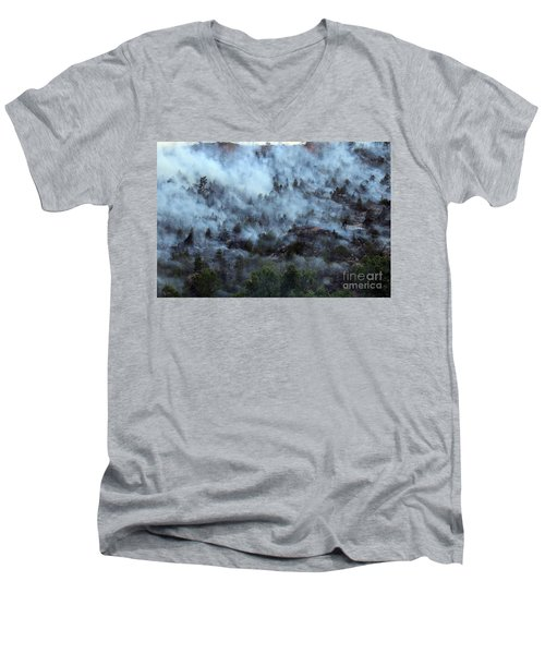 Men's V-Neck T-Shirt featuring the photograph A Smoky Slope On White Draw Fire by Bill Gabbert
