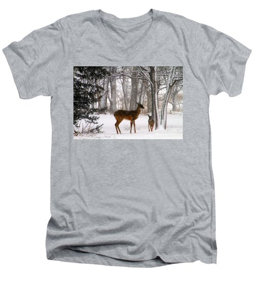 A Snowy Path Men's V-Neck T-Shirt by Elizabeth Winter