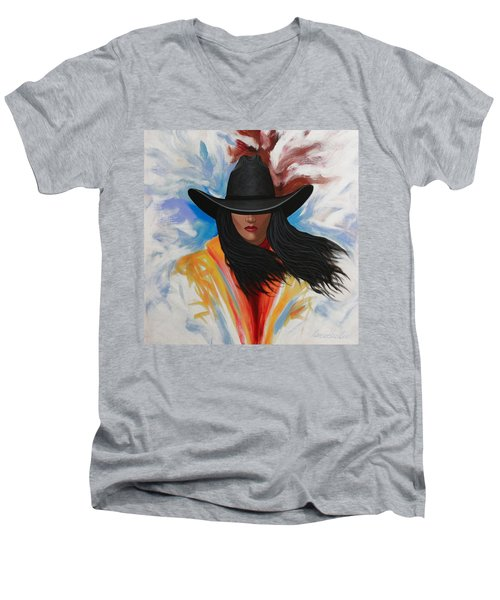 A Stroke Of Cowgirl Men's V-Neck T-Shirt by Lance Headlee