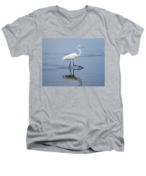 Men's V-Neck T-Shirt featuring the photograph A Stroll In The Marsh by John M Bailey