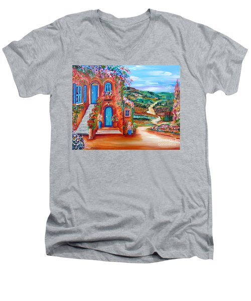 Men's V-Neck T-Shirt featuring the painting A Sunny Day In Chianti Tuscany by Roberto Gagliardi