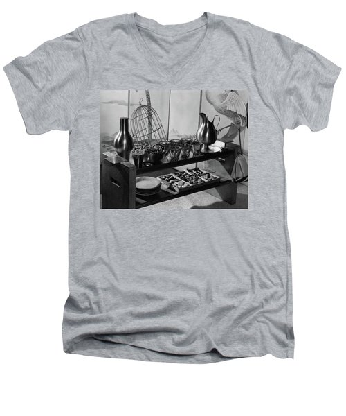 A Table With Tableware And Snacks Men's V-Neck T-Shirt