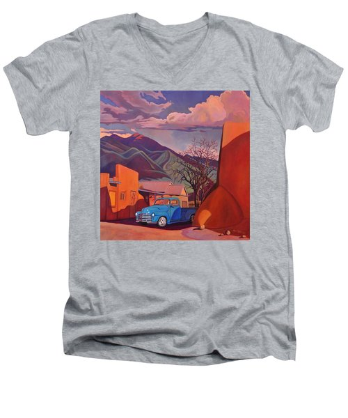 Men's V-Neck T-Shirt featuring the painting A Teal Truck In Taos by Art James West