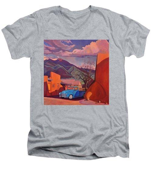 A Teal Truck In Taos Men's V-Neck T-Shirt