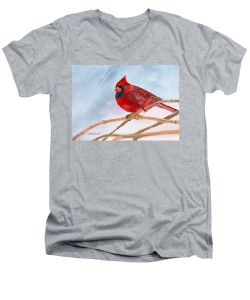 Men's V-Neck T-Shirt featuring the painting A Touch Of Red by Lynne Reichhart
