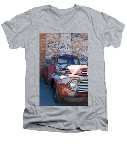 Men's V-Neck T-Shirt featuring the photograph A Truck In Goodland by Lynn Sprowl
