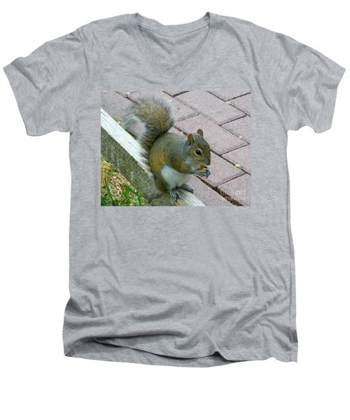 Men's V-Neck T-Shirt featuring the photograph A Two-nut Lunch by Mariarosa Rockefeller